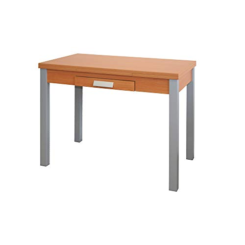 Mesa de Cocina Extensible - Modelo SILANTA - Color Cerezo/Plata - Material MDF/Metal - Medidas 100/160 x 60 x 76 cm