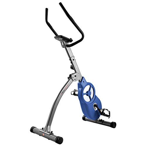 Ultrasport Bicicleta estática F-Bike 600 Pro, Aparato para Entrenar piernas y Abdomen, Incluye Sensor de Pulso, ergómetro con 3 Modos de Entrenamiento y Pantalla multifunción, Gris Oscuro/Azul