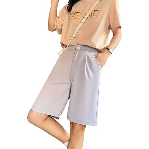 Pantalones Cortos para Mujer Moda Primavera y Verano Pantalones Cortos Casuales Sueltos de Cintura Alta Desplazamientos Diarios Pantalones de Traje de Cinco Puntos Casuales 3XL