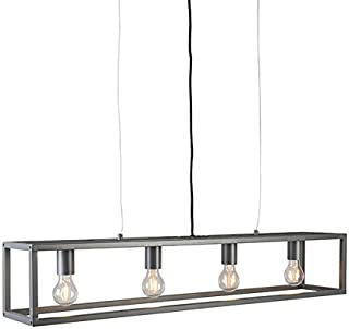QAZQA Moderno Lámpara colgante moderna antracita - CAGE 4 Acero Rectangular Adecuado para LED Max. 4 x 59 Watt
