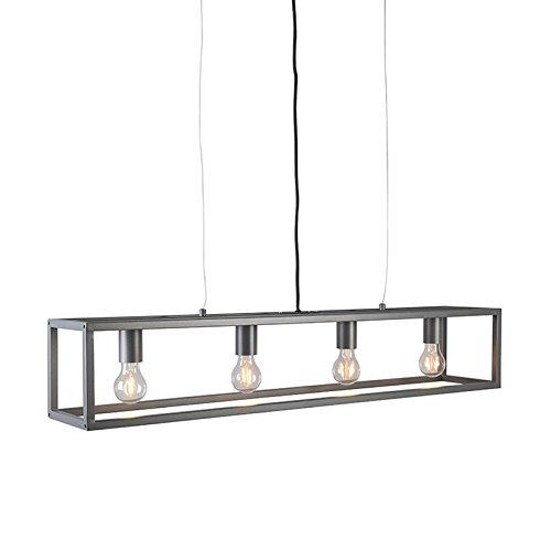 QAZQA Lampada a sospensione cage - Moderno - Acciaio - Grafite - Allungato Max. 4 x 59