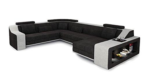 Bullhoff by Giovanni Capellini XXL Wohnlandschaft Stoff Sofa schwarz antrazit/Platin grau U-Form Ecksofa Design Couch mit LED-Licht Beleuchtung Berlin