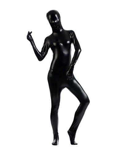 Gladiolus Erwachsene Kostüme Herren Shiny Einteiler Overall Ganzkörperanzug Faschings Anzug Schwarz XXXL