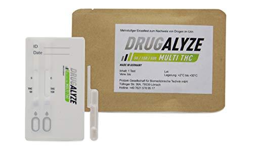 Preisvergleich Produktbild 3x DRUGALYZE Drogentest Multi THC - Made in Germany - Cannabis Marihuana - 3 Stück - Drogen Schnelltest (Cut-off: 50 + 150 + 500 ng / ml) - 97% weniger Kunststoff