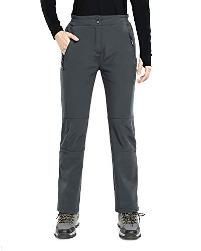 33,000ft Pantaloni da trekking da donna, impermeabili, antivento, con calda imbottitura grigio scuro XXS