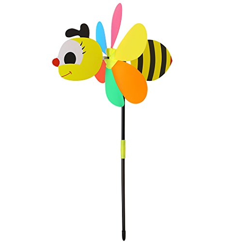Dabxxxi 3D Grand Animal Six Couleurs Moulin à Vent Jouet pour Enfants Coloré en Plein Air Spinner Yard Jardin Décor - Abeille