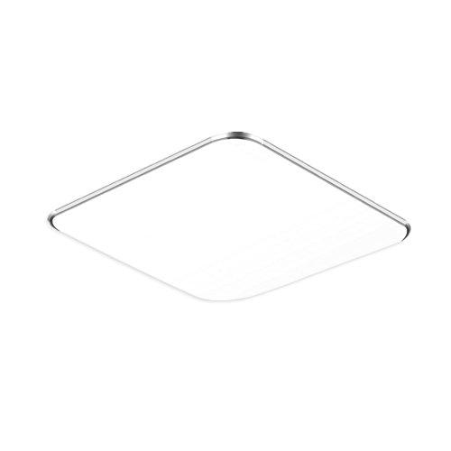 NAIZY 24W Kaltweiß LED Modern Deckenlampe Ultraslim Deckenleuchte Schlafzimmer Küche Flur Wohnzimmer Lampe Wandleuchte Energie Sparen Licht Silber (24W Silber Kaltweiß)