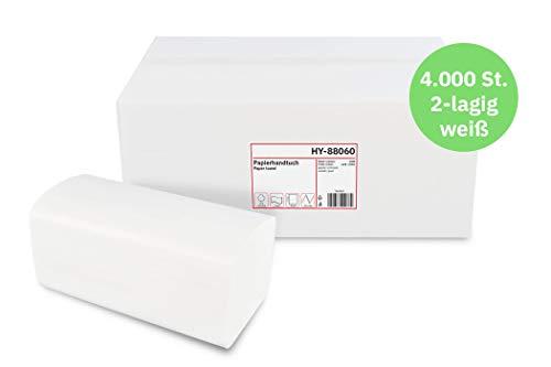 Hypafol Papierhandtücher für Spender   Recycling extra weiß   2-lagig, 24x21 cm   4000 Blatt verpackt in 16 x 250 Blatt   praktischer V-Falz für Handtuchspender in Toiletten, Büros, Praxen & Studios