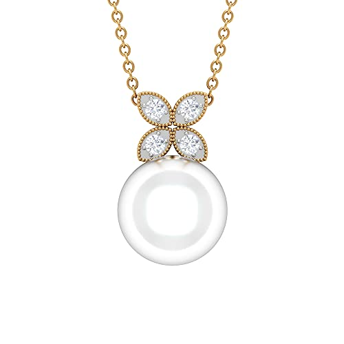 8 CT Bead Set Freshwater Pearl Floral Necklace with Diamonds and Milgrains (10 MM Round Shape Freshwater Pearl), 14K Solid Gold, With Chain