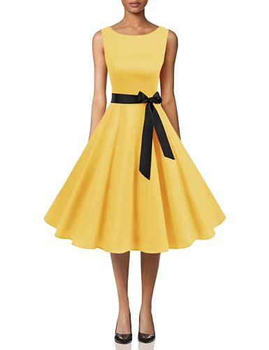 Yellow Dress for Women Vintage 1950's Floral Spring Garden Rockabilly Swing Prom Party Cocktail Dress Yellow L