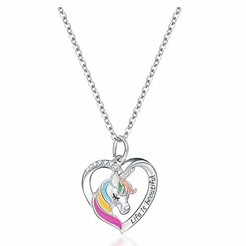 N/G Regalo per bambina con unicorno, collana da bambina con ciondolo a forma di unicorno e placcato Argento, colore: argento, cod. yehl-pony03
