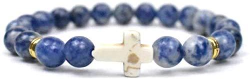 Gymqian Pulsera de Piedra Mujer, 7 Chakra Piedra Natural Bangle Bangle Lapis Lazuli Pulsera Elástica Yoga Cruz Lucky Moda Joyería para Damas Desgaste diario