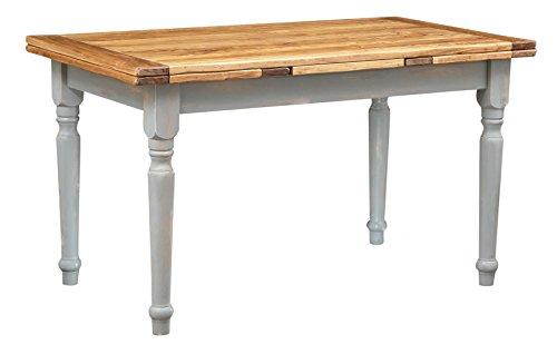 Biscottini Table Extensible en Bois Massif de Tilleul Style Country – Style Shabby – Structure Grise Antique Plateau Naturel L 140 x P 80 x H 80 cm