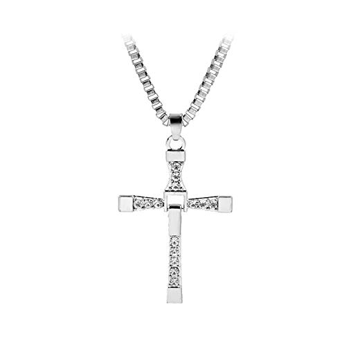 XCVBN God Bless Toretto Jesus Single Cross Necklace Silver Color Prayer Choker Cross Pendants Men Jewelry