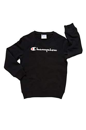 Champion Kids Script Crew Pullover Sweat, Black,