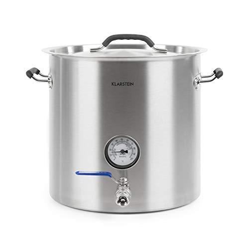 KLARSTEIN Brauheld Pur 25 - Cuve de Brassage, sans élément Chauffant, 25 L, Transvasement Facile, Thermomètre intégré jusqu'à 100 °C