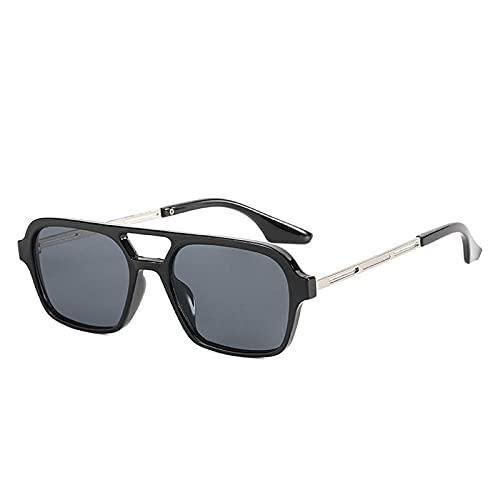 Gafas De Sol Hombre Mujeres Ciclismo Gafas De Sol Rectangulares Retro para Mujer, Gafas De Moda para Hombre, Gafas De Sol Cuadradas para Conducir Al Aire Libre, Negro_Gray