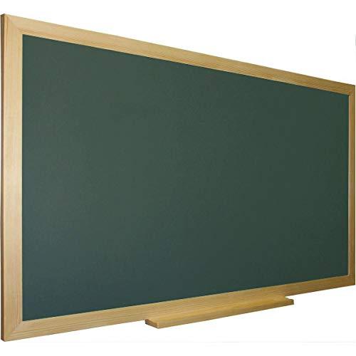 Pizarra verde para tiza con marco madera natural de pino incluye bandeja cajetín. Ideal para la decoración infantil en habitación de niños, hogar, casa, cocinas, oficinas (150 x 100)