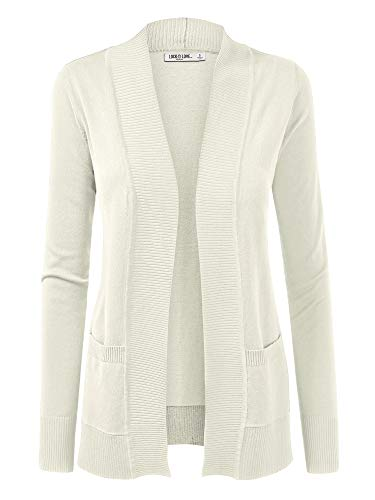 WSK926 Women Open Front Knit Cardigan S Ivory Maine