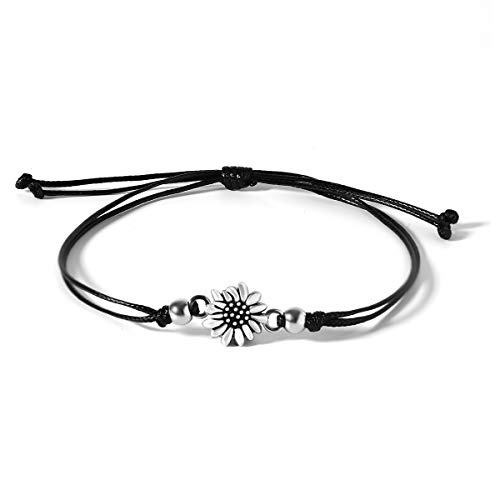 JoycuFF Sunflower Anklet Bracelets for Sister Mom Daughter You are My Sunshine Jewelry Unique Trendy Fashion Simple Sun Flower Inspirational Beach Birthday Graduation Gift Black Adjustable Waxed Cord