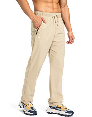 Pudolla Men s Workout Athletic Pants Elastic Waist Jogging Running Pants for Men with Zipper Pockets (Khaki Medium)