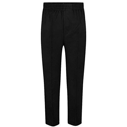 Pantalones infantiles con cintura elástica, talla 2-12 años, color negro, gris y azul negro negro 2-3 Años