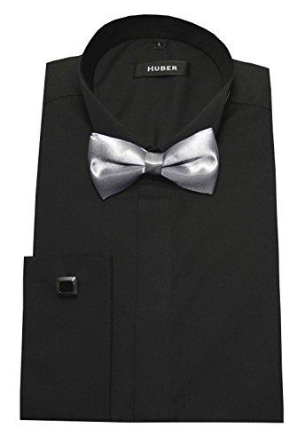HUBER Smokinghemd Slim Fit schwarz mit Fliege Silbergrau L