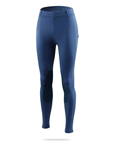 BALEAF Women's Horse Riding Pants Equestrian Breeches Tights Belt Loops Pockets Knee-Patch Active Legging UPF50+ Blue XL