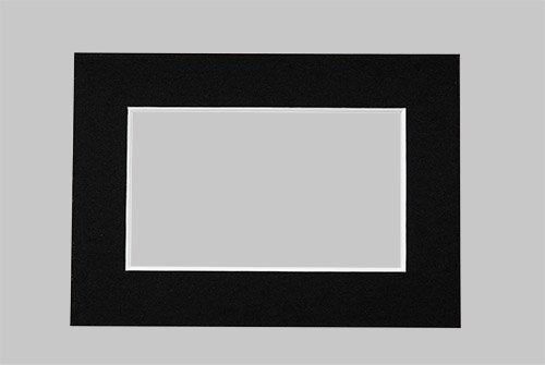 Art & More Passepartout in Schwarz 13x18 cm mit Ausschnitt für 10x15 cm große Bilder, Passepartouts in Museumsqualität - 3 Stück