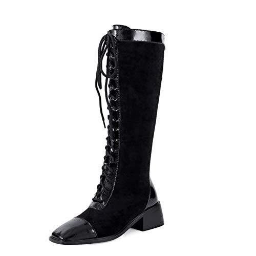 Wysokie buty na niskim obcasie, damskie kwadratowe palce na grubym obcasie, sznurowane buty do kolan z przodu, buty z zamkiem błyskawicznym z tyłu (Color : Black, Size : 38 EU)