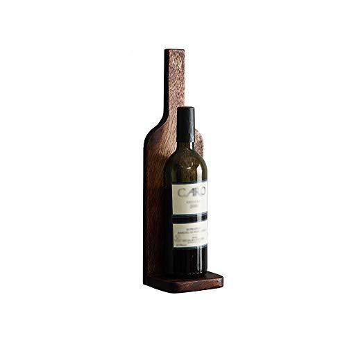 CCAN Estante para vinos de Montaje en Pared, Madera de Nogal Negro Creativo Vintage Práctico Decoraciones montadas en la Pared Sala de Estar/Bar/Almacenamiento en el hogar Estante para Botella