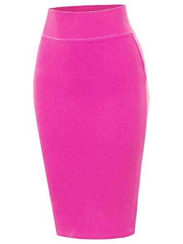 A2Y Solid Ponte Knee Length Slit Techno Span High Waist Pencil Skirt Neon Pink S