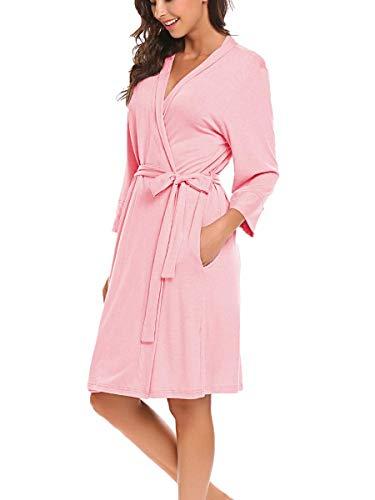Damen Morgenmantel Bademantel Kimono Leicht Robe Jersey Kurz Hausanzug Sleepwear Saunamantel Rosa XL