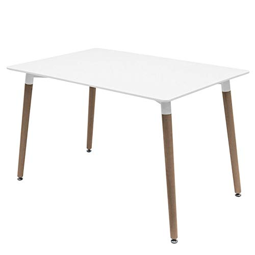 Home Heavenly - Mesa Comedor, Tower Mesa de Estilo nordico Rectangular Blanca con Patas en Madera Natural 120 X 80 cm (120_x_80_cm)