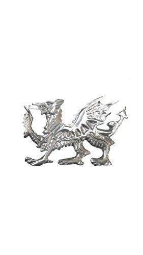 Celtic Welsh Dragon Balmoral Cap Badge/Glengarry Cap Badge Pin Silver Chrome Finish