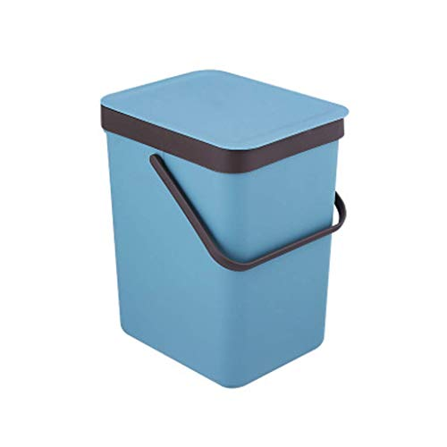 Ibuprofen Waste Bin with Waste Bin Portable Storage Box Wall-Mounted One-Piece Waste Paper Basket 9L 3 Colors Optional Blue