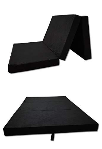 Odolplusz Colchón plegable para cama plegable, fabricado en la UE, se puede utilizar como colchón para invitados (negro, 80 x 200 cm)