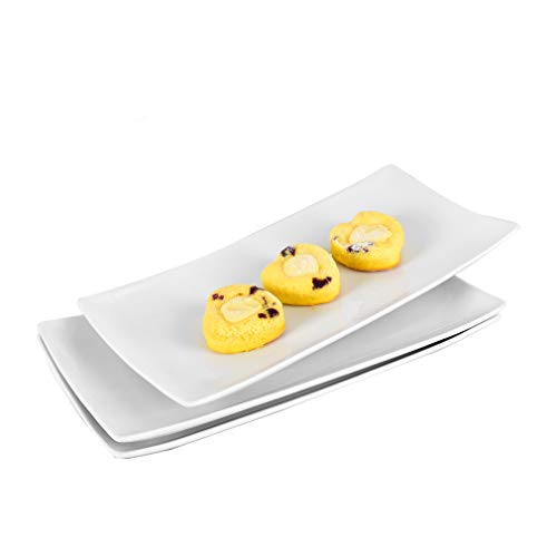 Singkasa Porcelain Rectangle Serving plate for Sushi/Bread/Snack Platter 11.2 inches, White| set of 3 (11.2)