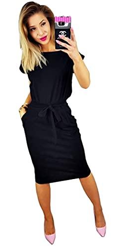 Longwu Vestido de Manga Corta Elegante de Las Mujeres para Trabajar el Vestido Ocasional del lápiz con la Correa Negro-M