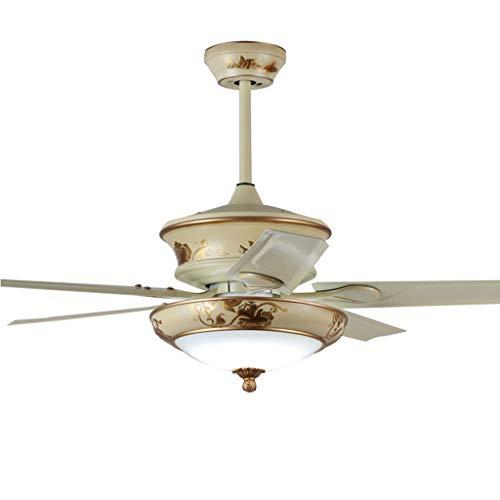 Ventilateurs de Plafond avec Lampe intégrée La Lumière du Ventilateur De Plafond LED Télécommande Télécommande Ventilateur Fer De Ventilateur Feuille Ventilateur De Plafond Lumière Restaurant Amé