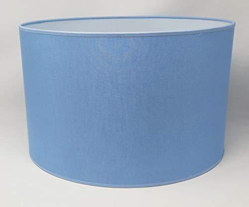 Zylinder Lampenschirm Baumwolle Stoff handgefertigt für Deckenleuchte, Tischleuchte, Stehlampe (Hellblau, 25 cm Durchmesser 20 cm Höhe)