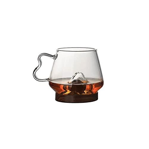 FEINENGSHUAI Vasos de Cristal Copa de café con Forma de montaña Creativa, Vasos de Cristal para Cerveza, Vino, té, Leche, Jugo- 10 oz (Size : Medium)