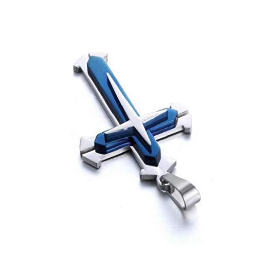 Collar de Cadena de Acero Colgante Cruz Collar de la Manera Unisex Inoxidable para Mujeres y Hombres - Azul