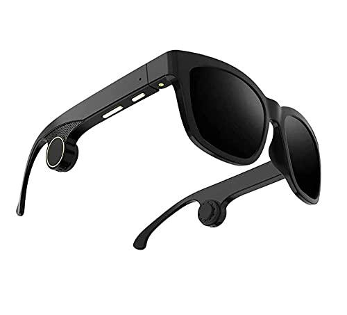ZOUSHUAIDEDIAN Gafas Bluetooth Inteligentes, Auriculares inalámbricos de Gafas de Sol, Llamadas de Manos Libres, Gafas de Sol de Bluetooth portátiles polarizadas Unisex, Impermeables, Negro