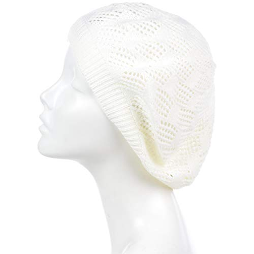 an Womens Knit Beanie Beret Hat Lightweight Fashion Accessory Crochet Cutouts (One Size, White)