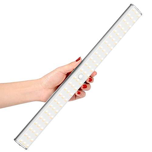 LOFTer 144 LED Sensor Licht Dimmbar Schrankbeleuchtung mit Bewegungsmelder 320LM Wiederaufladbar Unterbauleuchte für Küche Kleiderschrank, Warmweiß/Neutralweiß/Kaltweiß