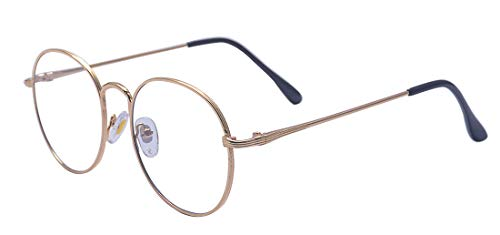 ALWAYSUV Metallrahmen Runde Brille Retro Brille Transparente Brille mit Fensterglas