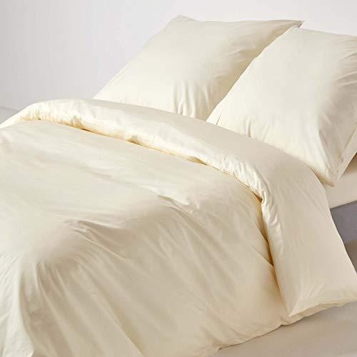 Homescapes Bettwäsche-Set 2-teilig Bettbezug 155 x 200 cm mit Kissenhülle 80 x 80 cm creme/vanille 100% reine ägyptische Baumwolle Fadendichte 200 Perkal-Bettwäsche