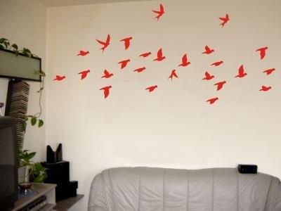 Wandtattoo / Wandaufkleber sehr grosses Vogelschwarm-Motiv; Farbe Rot
