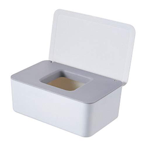 YRW Caja de Pa?Uelos HúMedos Sellada de Escritorio Toallitas para BebéS Caja de Almacenamiento Papel Soporte para Dispensador PláStico para el Hogar una Prueba Polvo con Tapa-Blanco